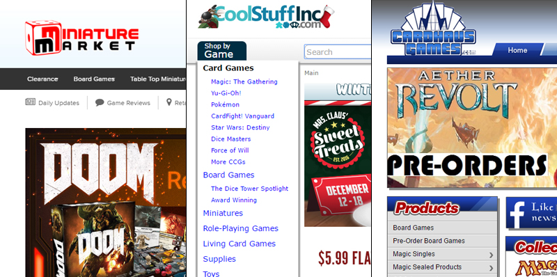 Algumas das principais lojas onlines dos Estados Unidos.