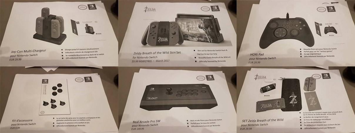 Algumas das imagens dos acessórios da Hori para o Nintendo Switch