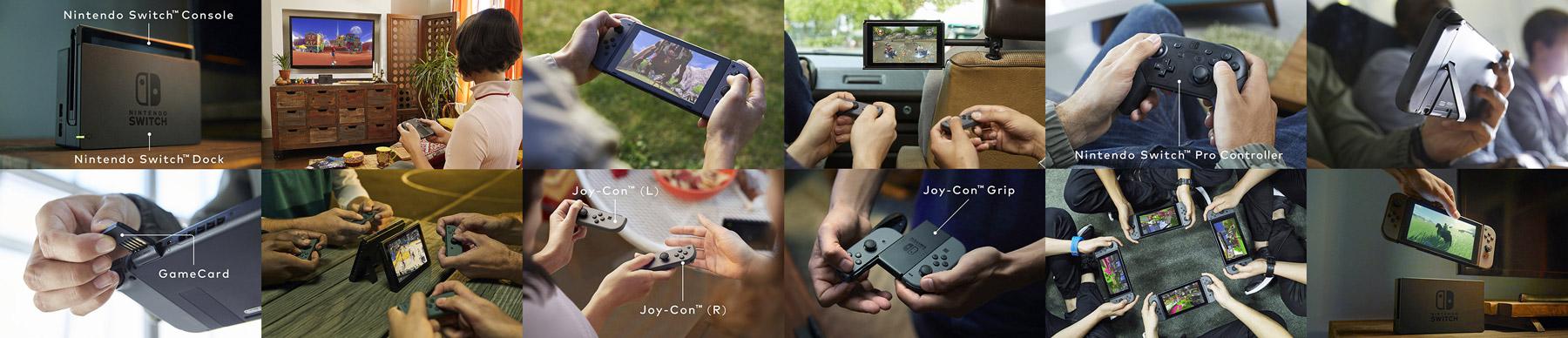Nintendo Switch e seus vários componentes